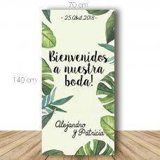 Cartel de bienvenida para boda, modelo tropic. 70x140cm. Personalizable.