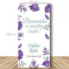 Cartel bienvenida boda, modelo violet. 70x140cm. Personalizable.