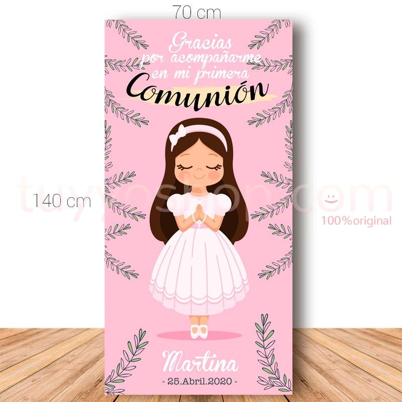 Cartel de bienvenida para comunión. 70x140cm. Modelo Martina