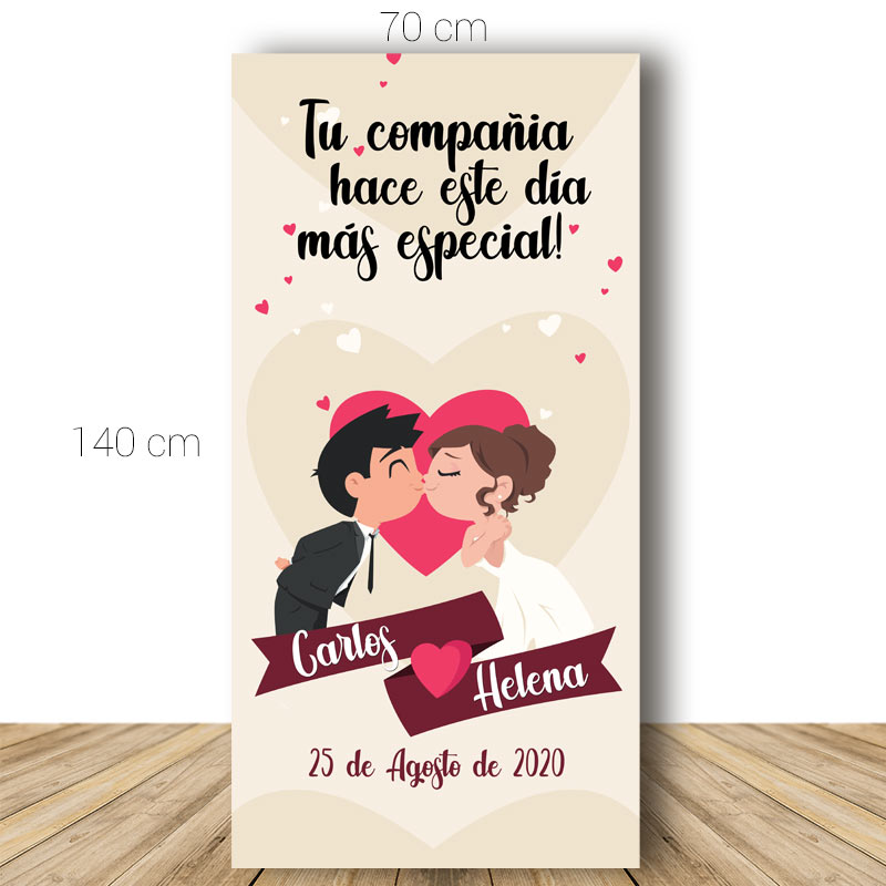 Cartel bienvenida boda. Kiss and Love. 70x140cm. Personalizable