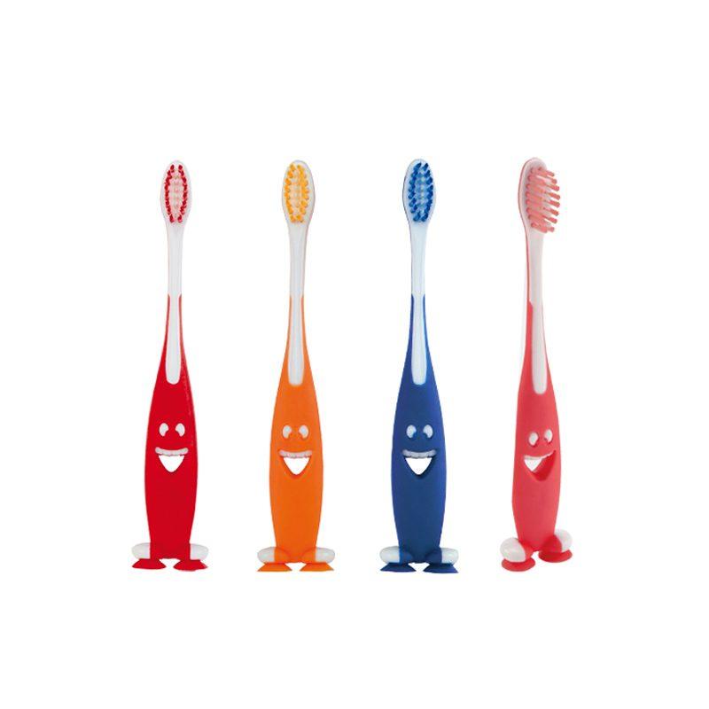 Cepillo de dientes para niños. 4 colores diferentes. Con ventosa.