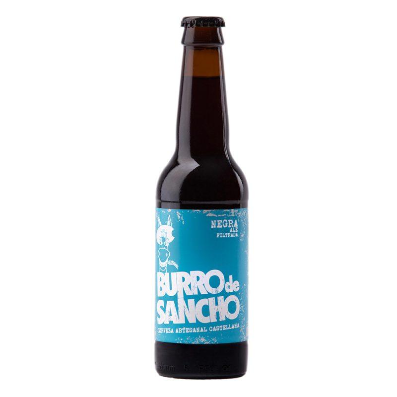 Cerveza artesanal para bodas. Burro de Sancho. Negra. 33cl. En packs de 12