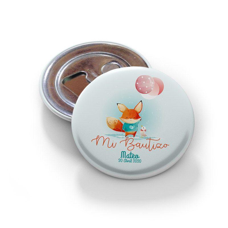 Chapa abridor de bautizo, con imán. Modelo Little Fox