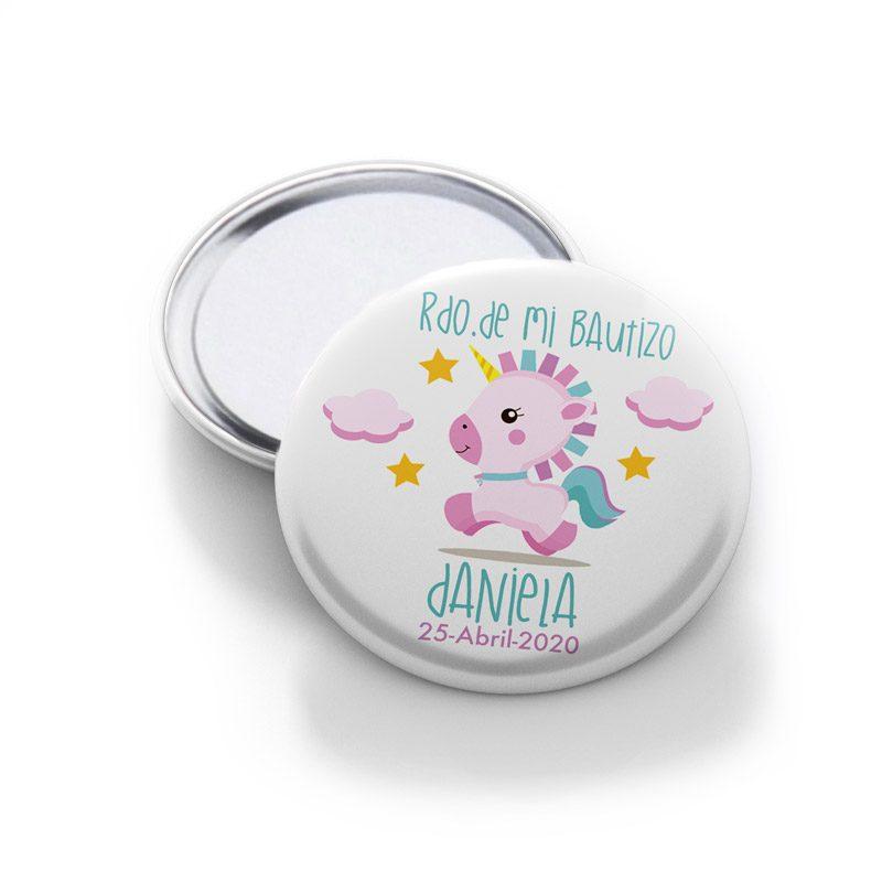 Espejo para bautizo, modelo Pink unicornio.