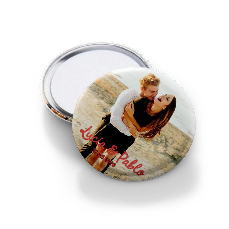 Chapa espejo para boda personalizado con foto