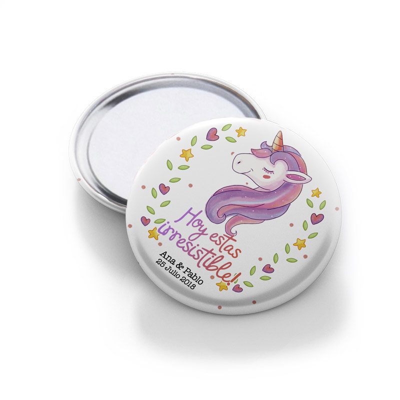 Chapa espejo para boda, modelo unicornio