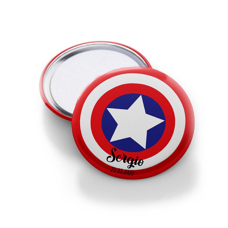 Chapa espejo para comunión. Modelo Capitan USA.