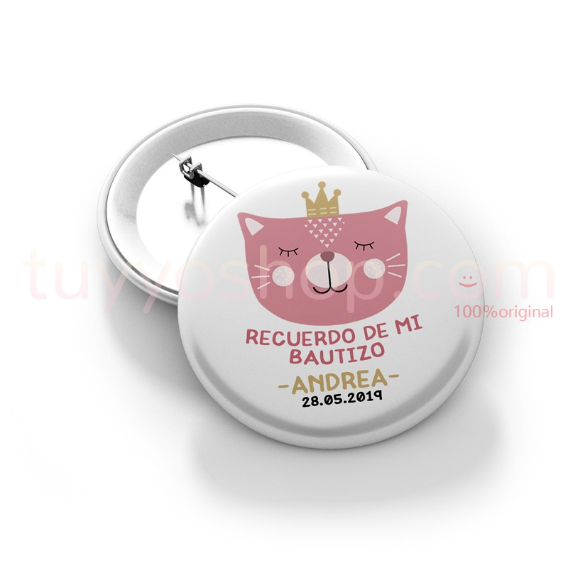 Chapa imperdible para bautizo. Cat Princess. Personalizable.