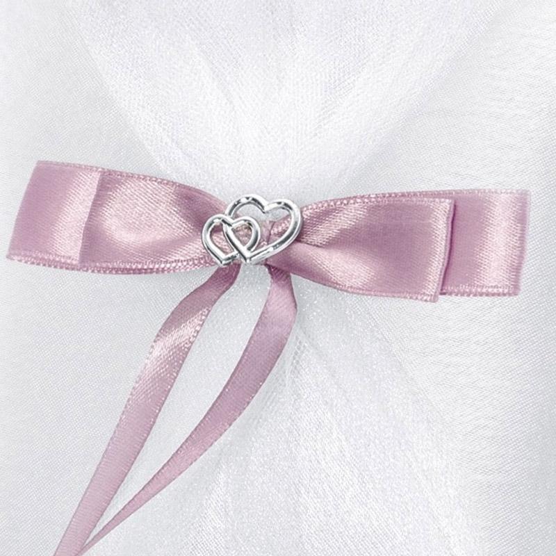 Cojín porta alianzas. Blanco. Lazo en rosa.