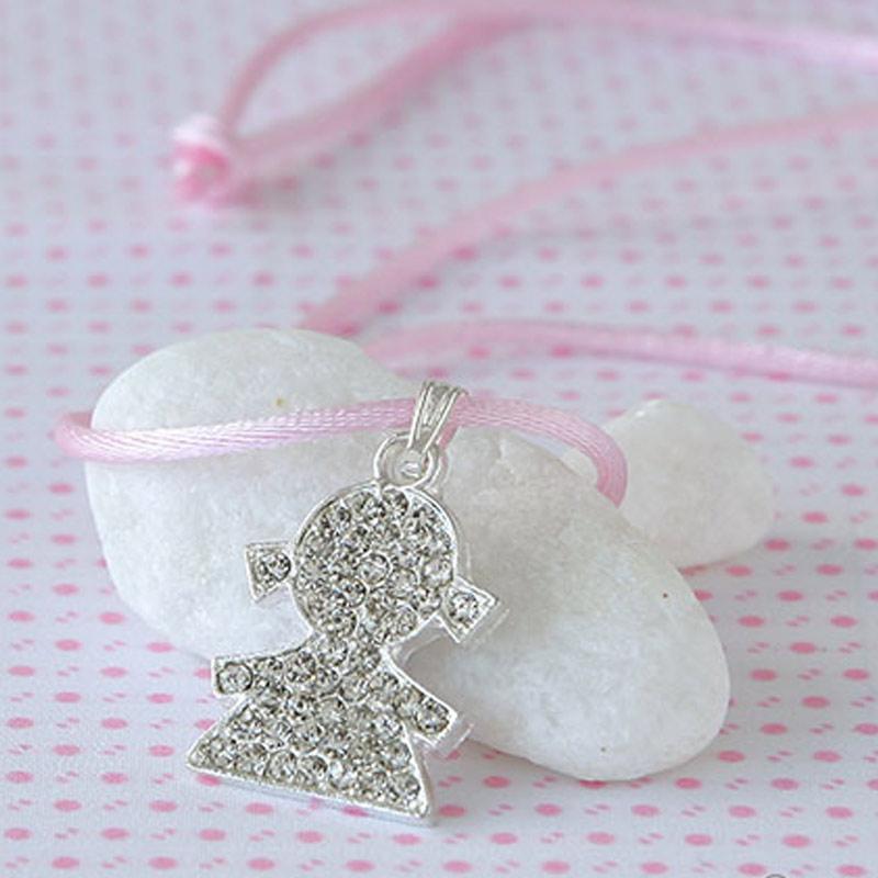 Caja blanca lazo rosa colgante strass niña