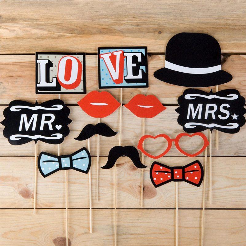 Set complementos vintage para bodas. 12 piezas. complementos photocall vintage 12 piezas 2