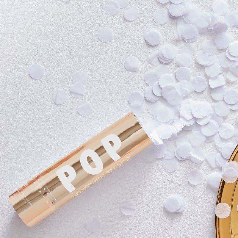 Lanzador de confeti biodegradable. Color blanco. 15cm confeti biodegradable boda blanco