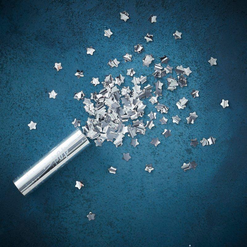 Lanzador de confeti. Estrellas plateadas. 15x4cm confeti para boda estrellas plateadas 2