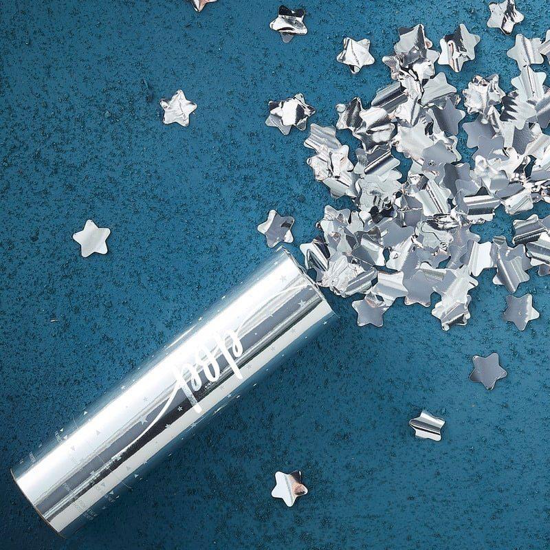 Lanzador de confeti. Estrellas plateadas. 15x4cm confeti para boda estrellas plateadas