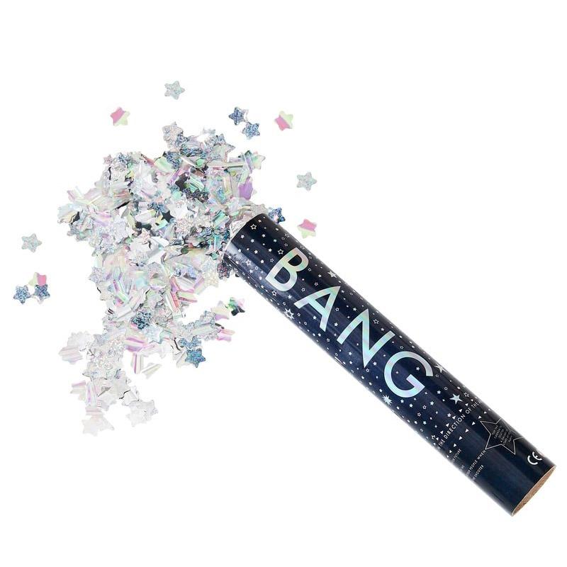 Lanzador de confeti iridiscente. 30cm confeti para boda iridiscente
