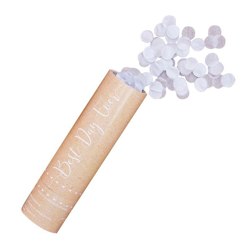 Lanzador de confeti en color blanco. Modelo rustic. 15cm. confeti para boda rustic country 2