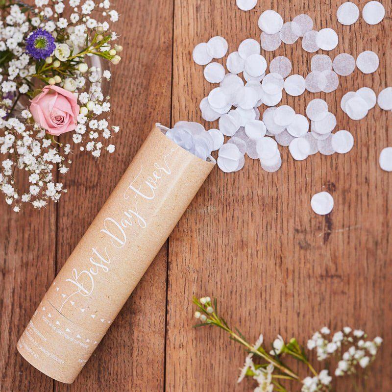 Lanzador de confeti en color blanco. Modelo rustic. 15cm. confeti para boda rustic country