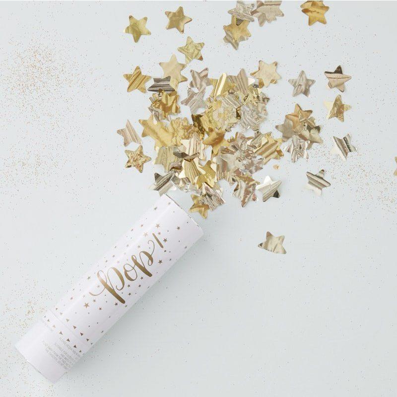 Lanzador de confeti. Estrellas doradas. 15x4cm confetti estrellas doradas