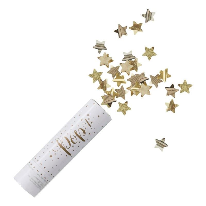 Lanzador de confeti. Estrellas doradas. 15x4cm confetti estrellas doradas detalle