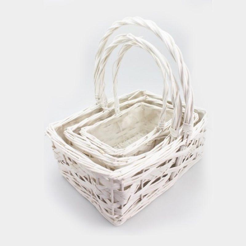 Juego de 3 Cestas Rectangulares Blancas conjunto 3 cestas