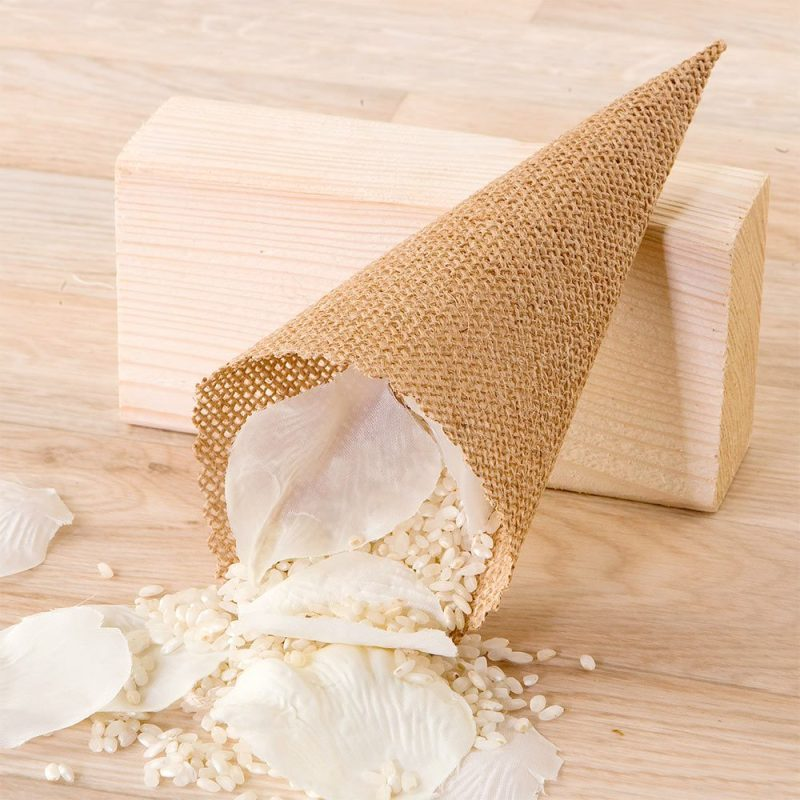 Cono fabricado en jute natural para el arroz o pétalos...20cm