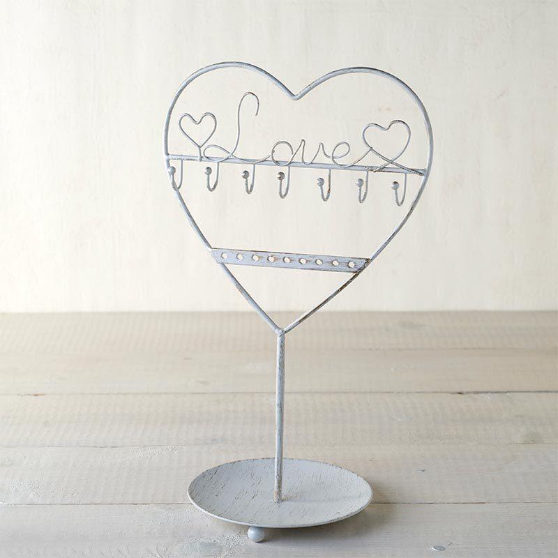 Corazón de los buenos deseos. Función joyero. Metal blanco 30cm