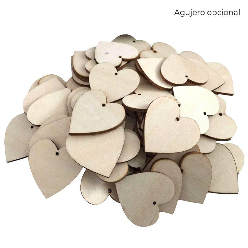 Pack 50 corazones de madera, especial bodas, varios tamaños, opción de personalizarlos corazones madera bodas agujero