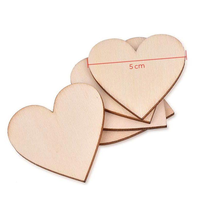 Pack 50 corazones de madera, especial bodas, varios tamaños, opción de personalizarlos corazones madera bodas personalizado 5cm