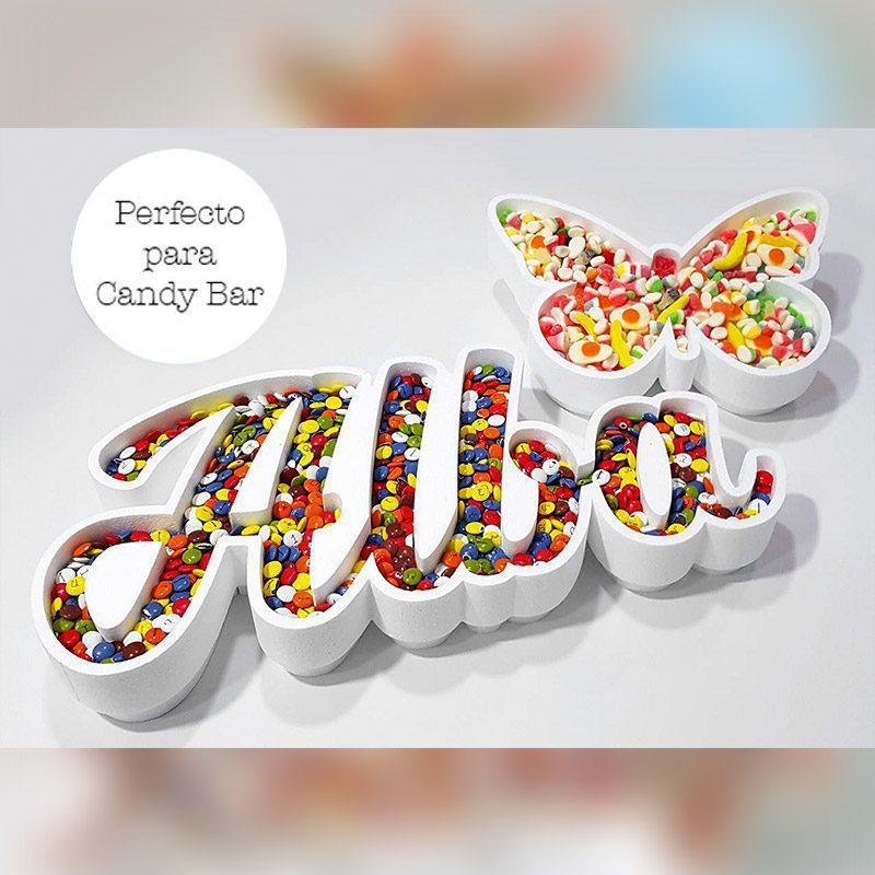 Corcho para candybar. Personalizado. Modelo Mariposa
