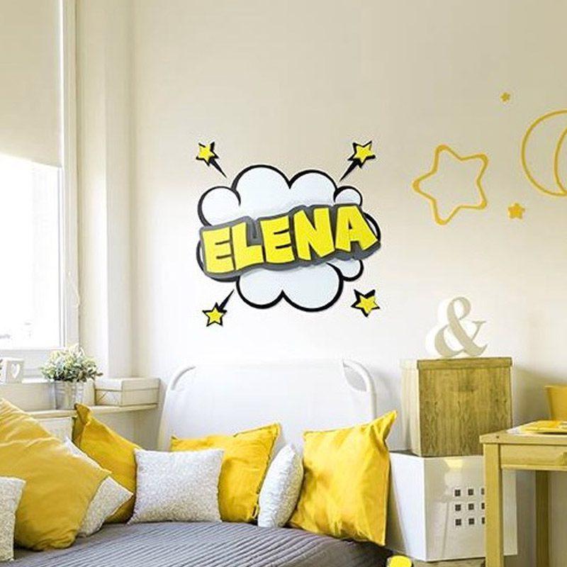 Nombre personalizado para decoración. Estilo comic. Amarillo.