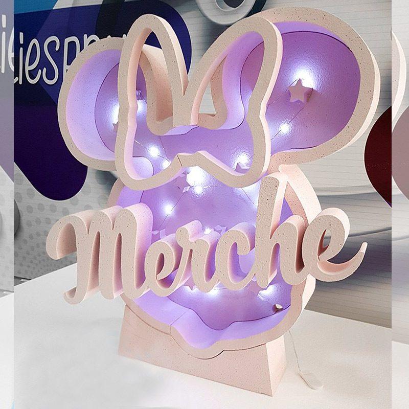 Corcho cajón de luz en forma de ratoncita. Personalizado.