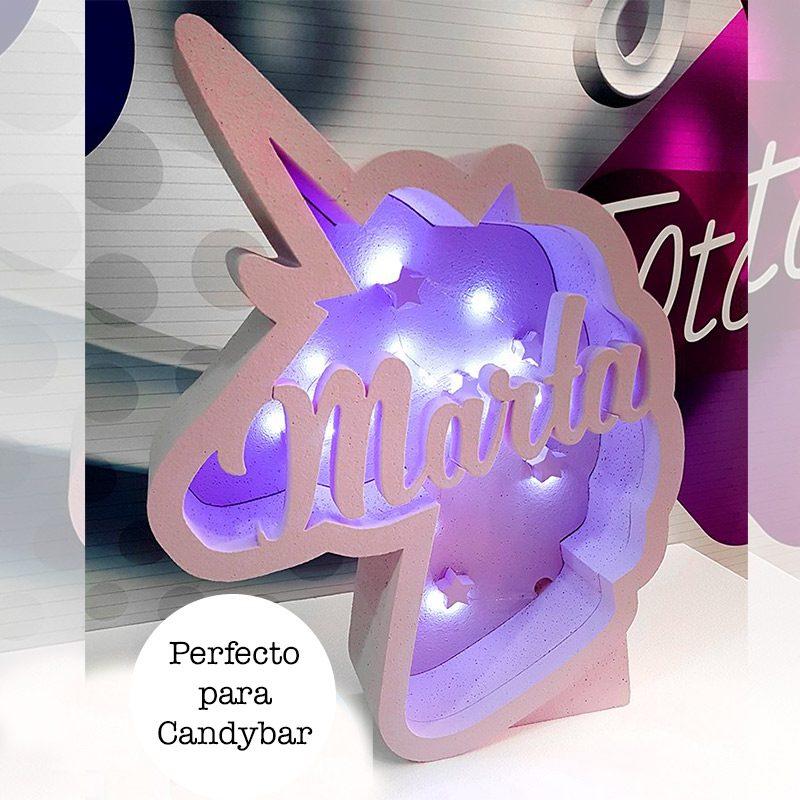 Corcho cajón de luz en forma de unicornio. Personalizado.