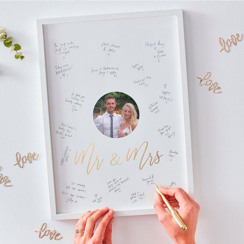 Cuadro de firmas para boda. Mr&Mrs. 32x44cm cuadro de firmas para boda