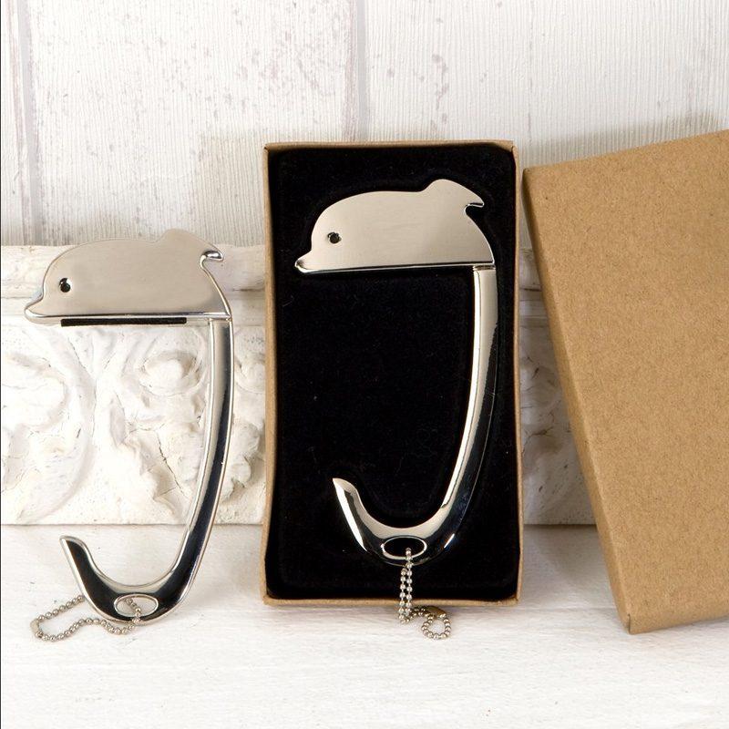 Cuelga bolso para boda. Delfín. En caja de regalo. Grabación incluida.