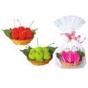Detalle de boda toalla cesta de frutas