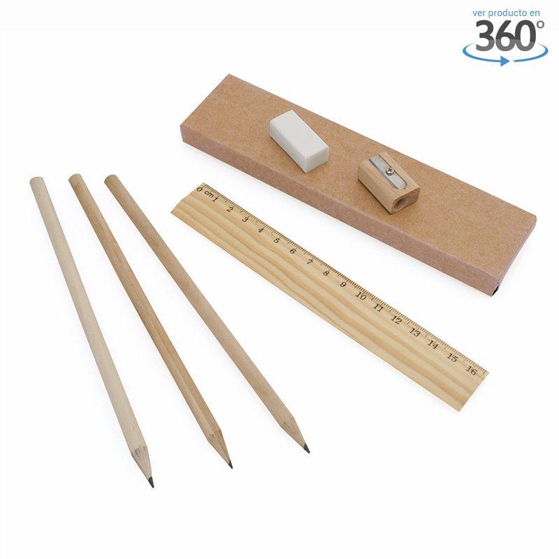 Caja de lápices de madera con sacapuntas y goma