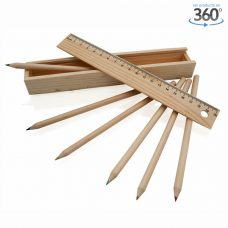 Caja de lápices de madera con regla a juego