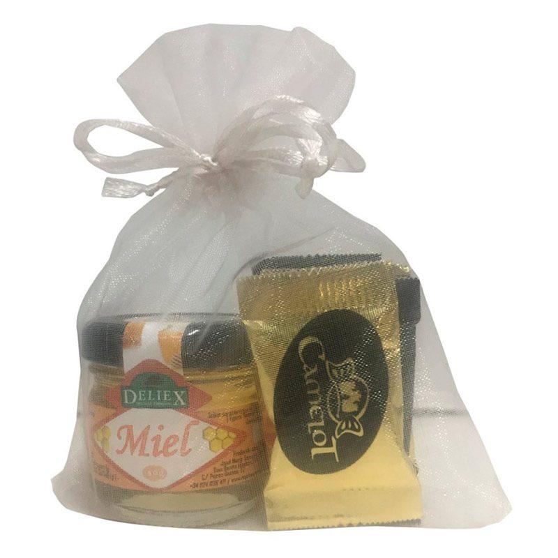 Pack miel 30gr con 5 chocolatinas en bolsa de organza de 10x13cm