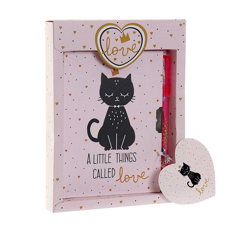 Diario cartón Black Cat 14,5x19,5cm. Detalles de comunión.