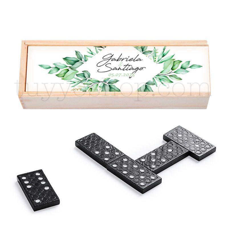 Ultimos regalos para invitados añadidos domino personalizado boda green