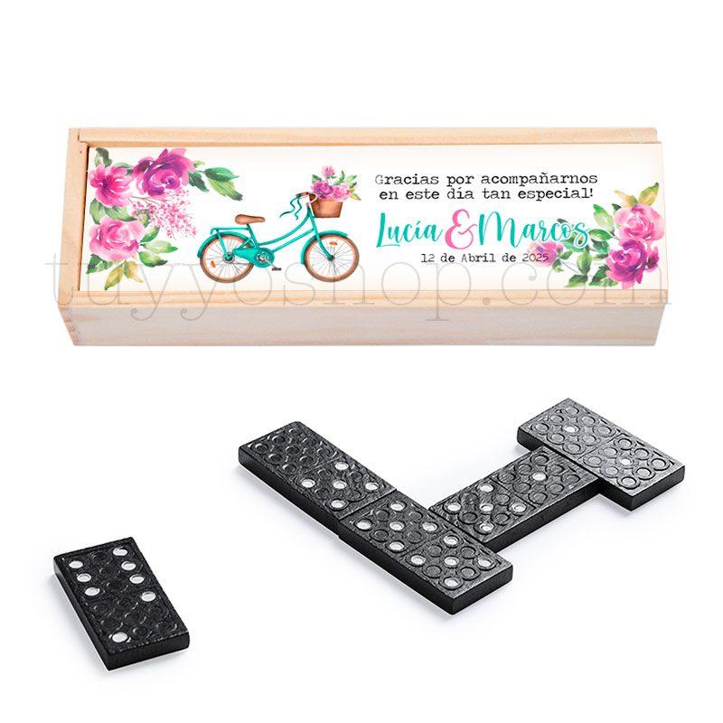 Ultimos regalos para invitados añadidos domino personalizado para boda bici floral