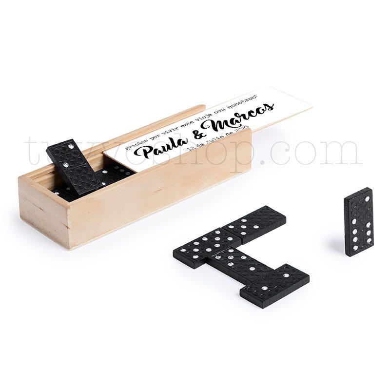 Juego dominó de madera personalizado para boda, modelo Nombres domino personalizado para boda nombres 2
