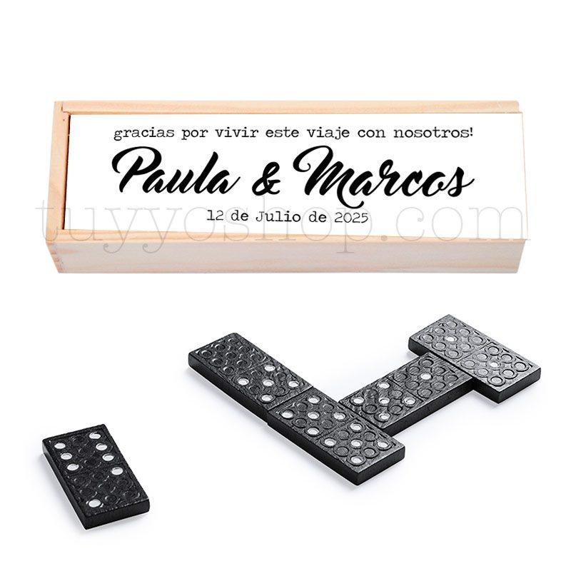 Juego dominó de madera personalizado para boda, modelo Nombres domino personalizado para boda nombres