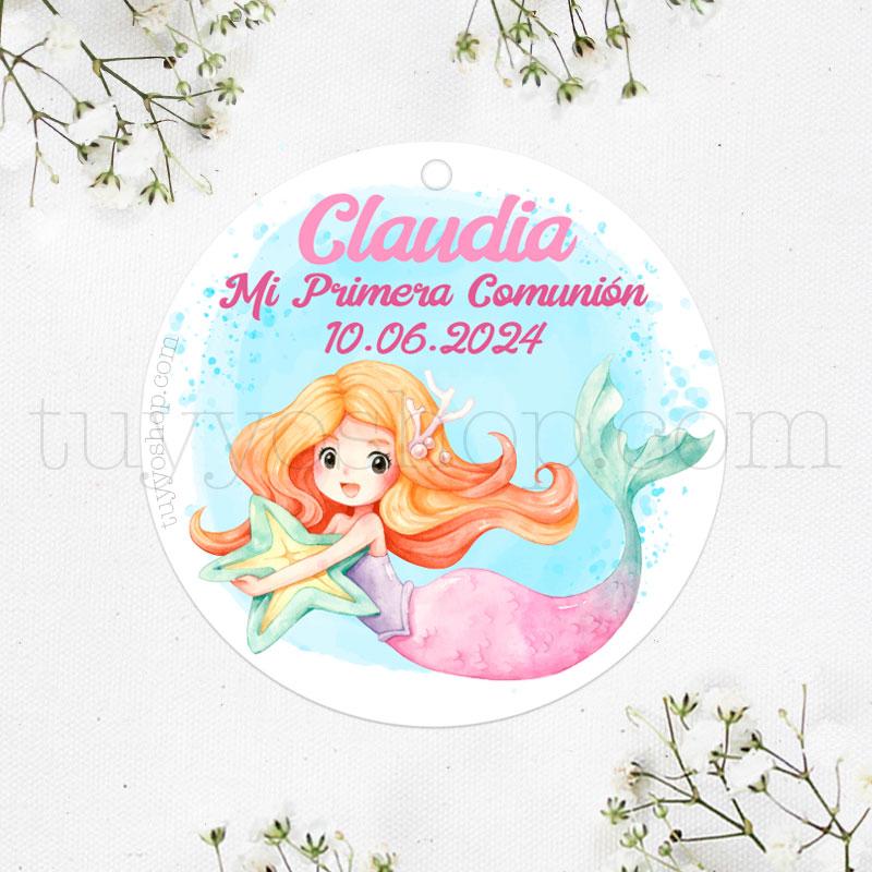 Etiquetas para regalos de comunión Sirena y Estrella