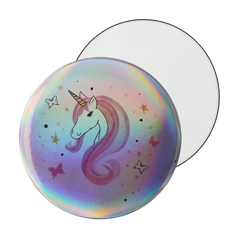 Espejo chapa modelo Rainbow Unicornio.