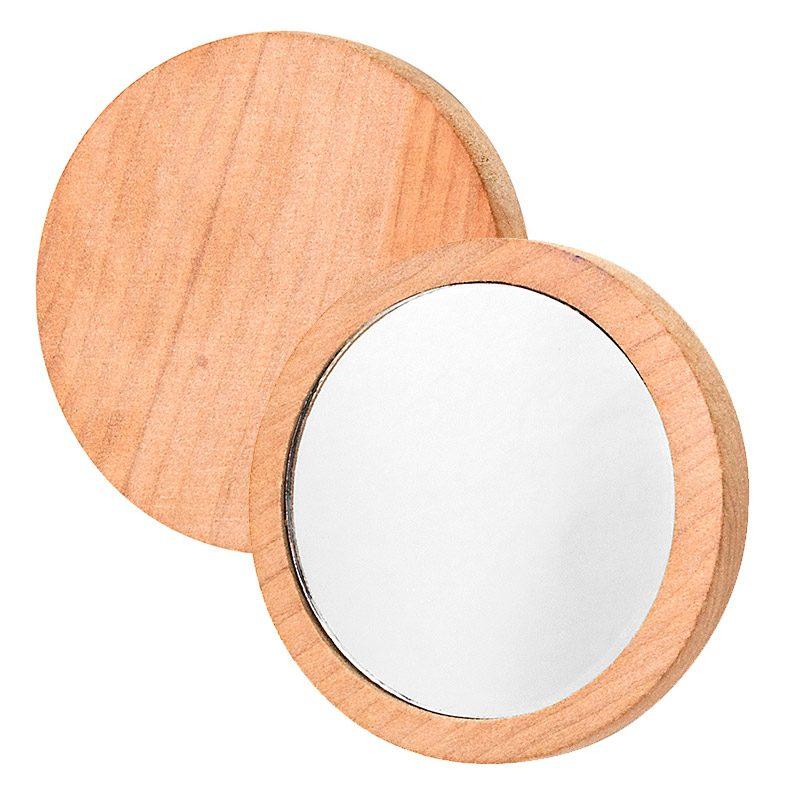 Espejo de madera para bodas. 7cm de diámetro.