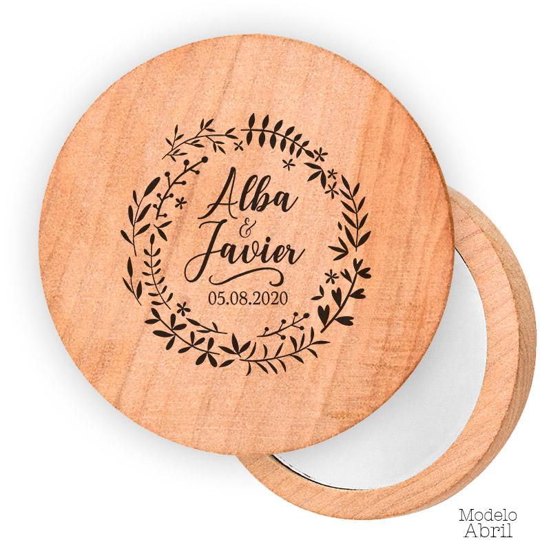 Espejo de madera personalizado. 7cm. Modelo abril