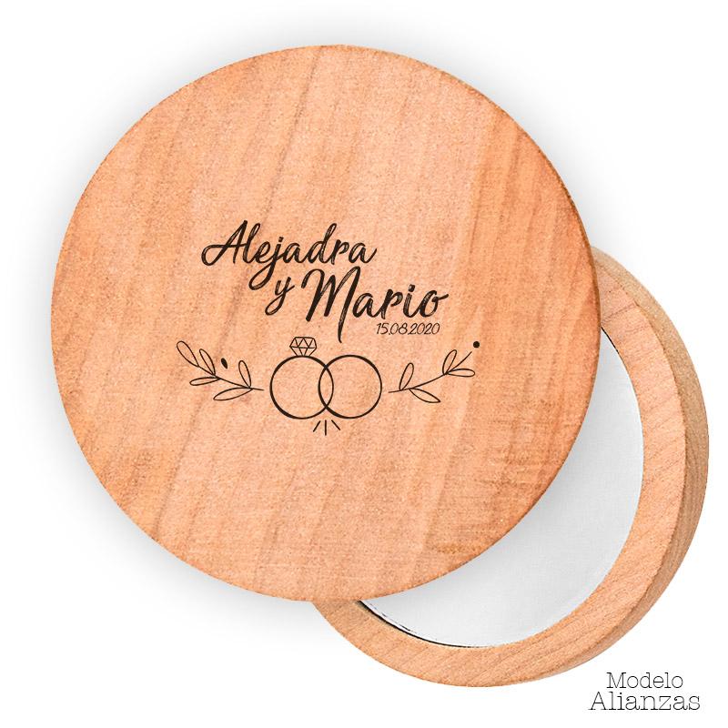 Espejo de madera personalizado. 7cm. Modelo alianzas