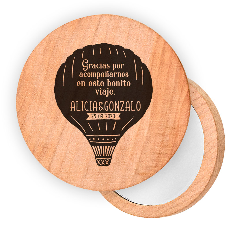 Espejo de madera personalizado. 7cm. Varios modelos a elegir.