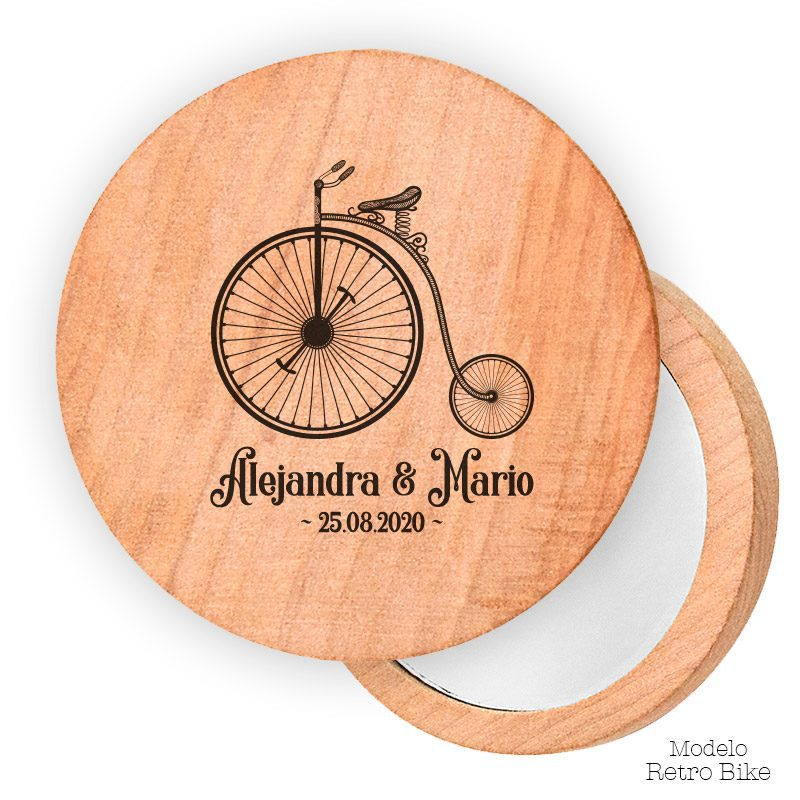 Espejo de madera personalizado. 7cm. Modelo retro bike